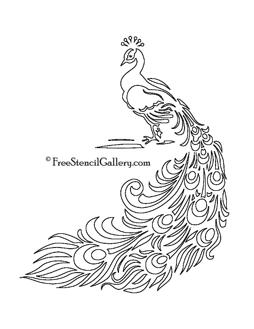 Cake Stencil Designs Free : Peacock Stencil Free Stencil Gallery