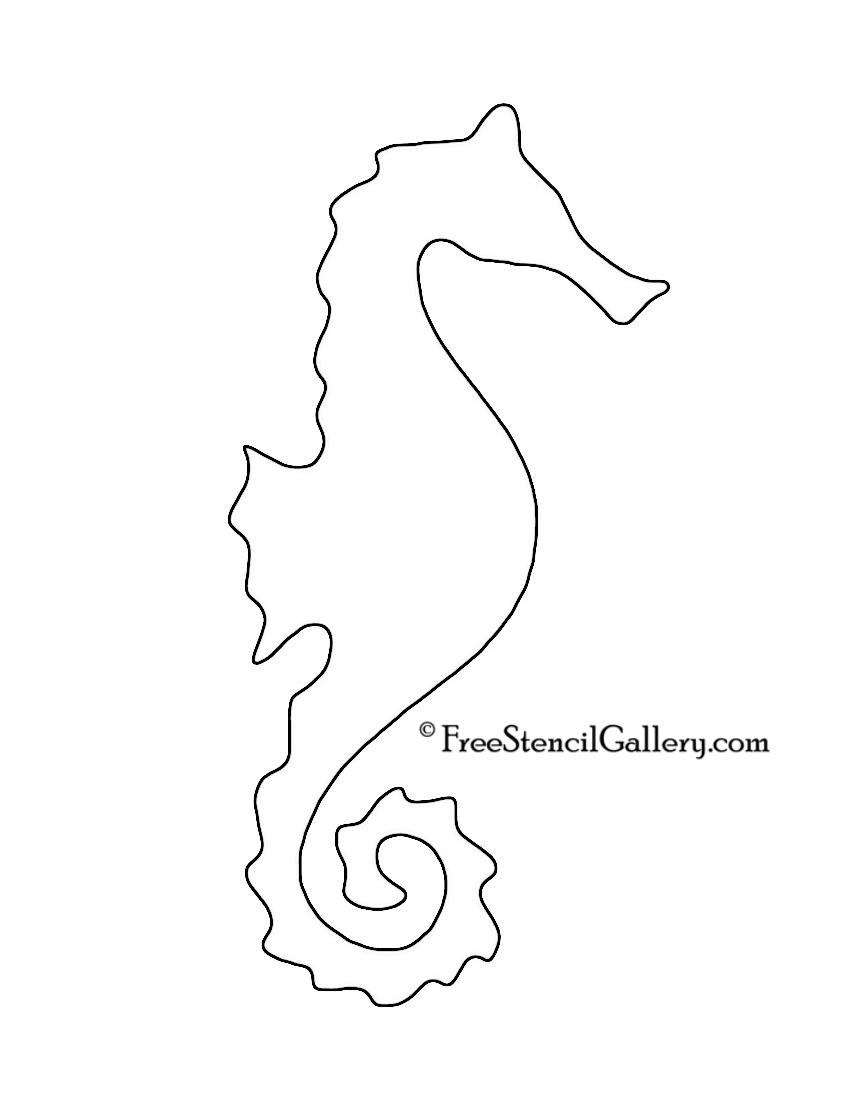Seahorse Silhouette Stencil