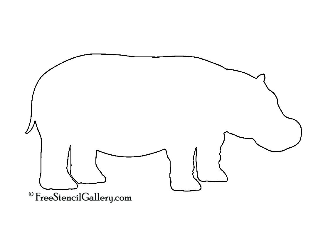 Hippopotamus Silhouette Stencil