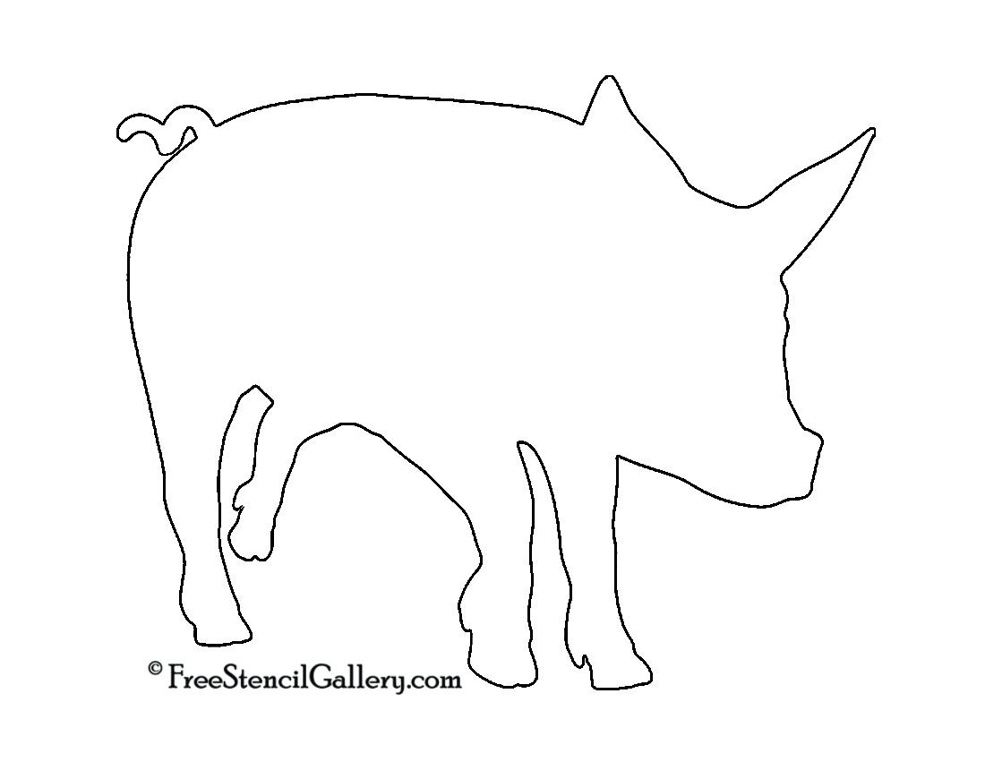 Piglet Silhouette Stencil