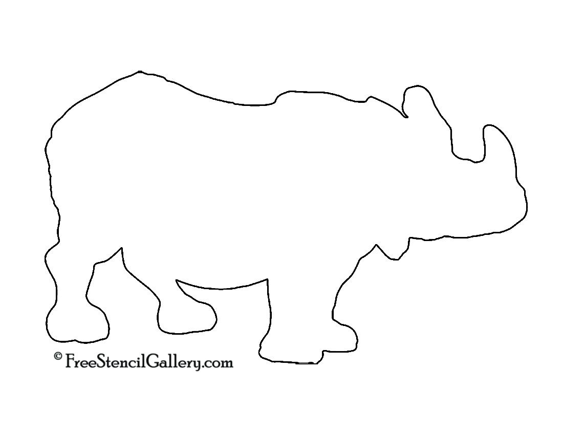 Rhinoceros Silhouette Stencil