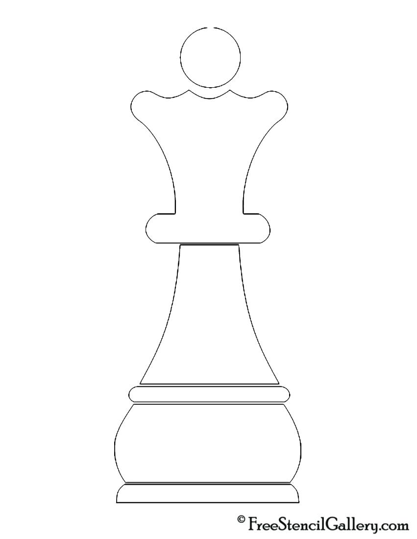 Chess Piece - Queen Stencil