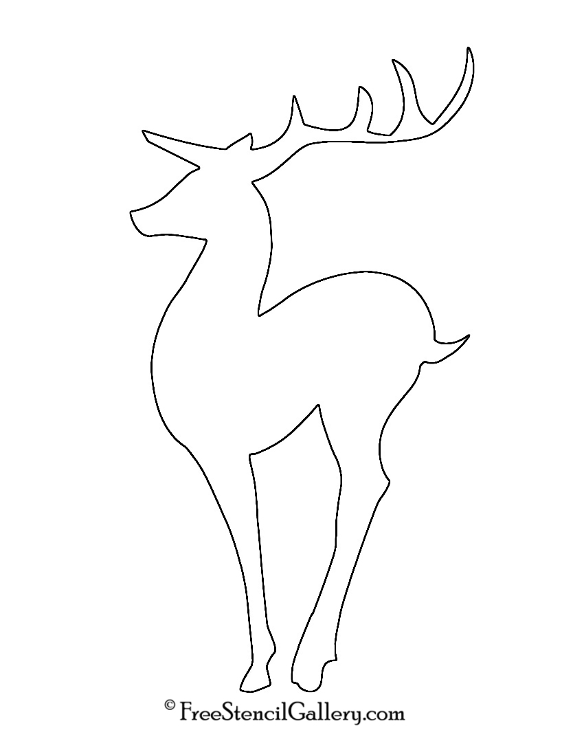 Reindeer Silhouette Stencil 04