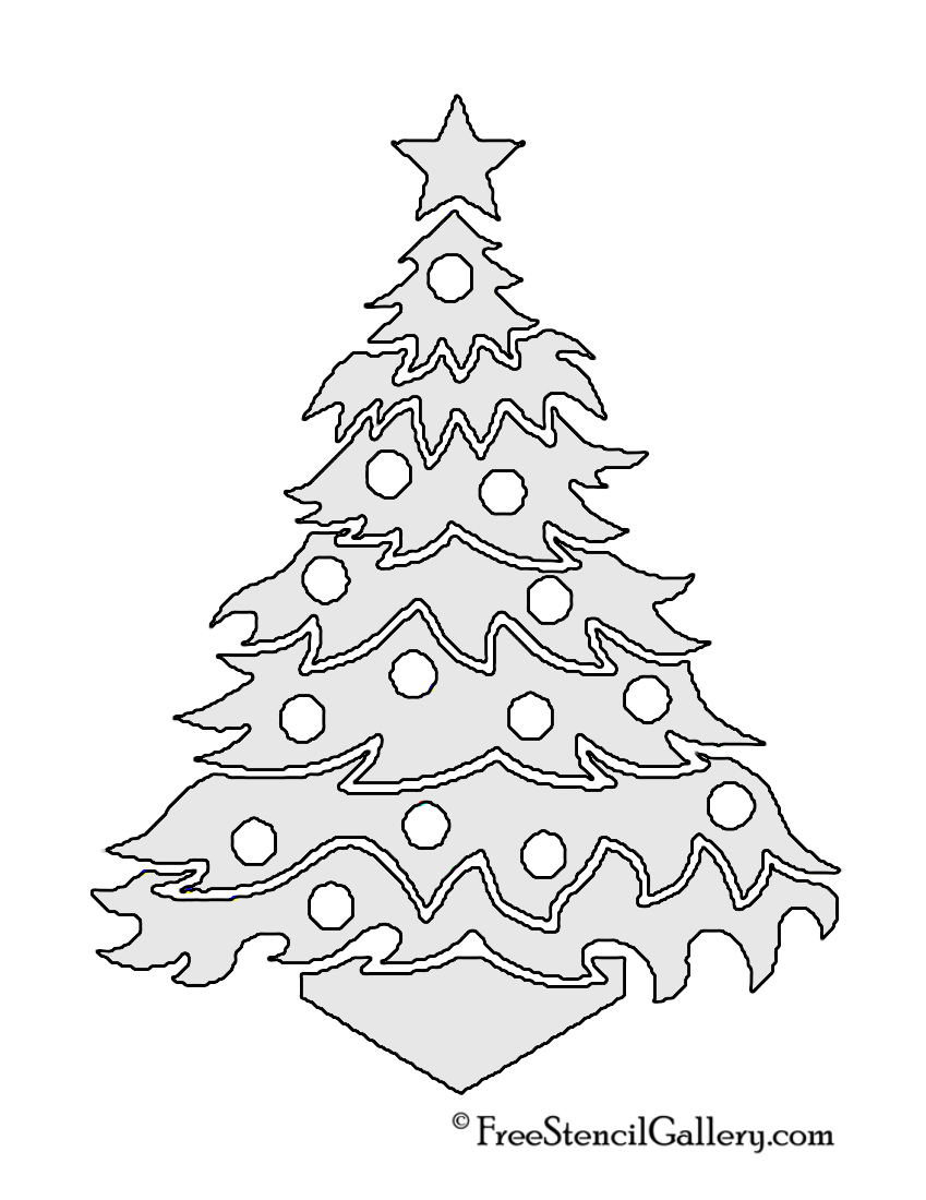 Christmas Tree Stencil 12 Free Pine Coloring Pages