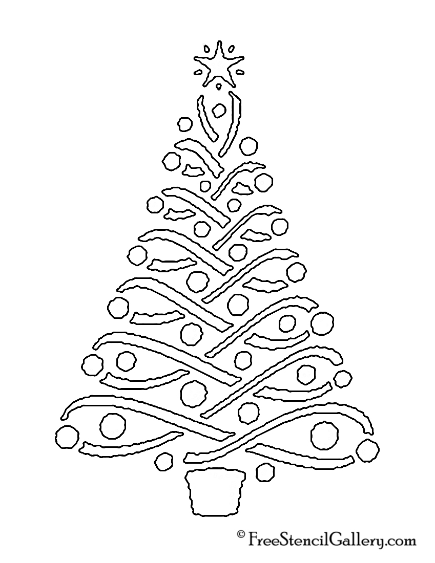 christmas tree stencil 14 - Holiday Stencils Free Printables