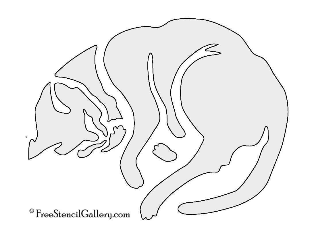 Cat Sleeping Stencil