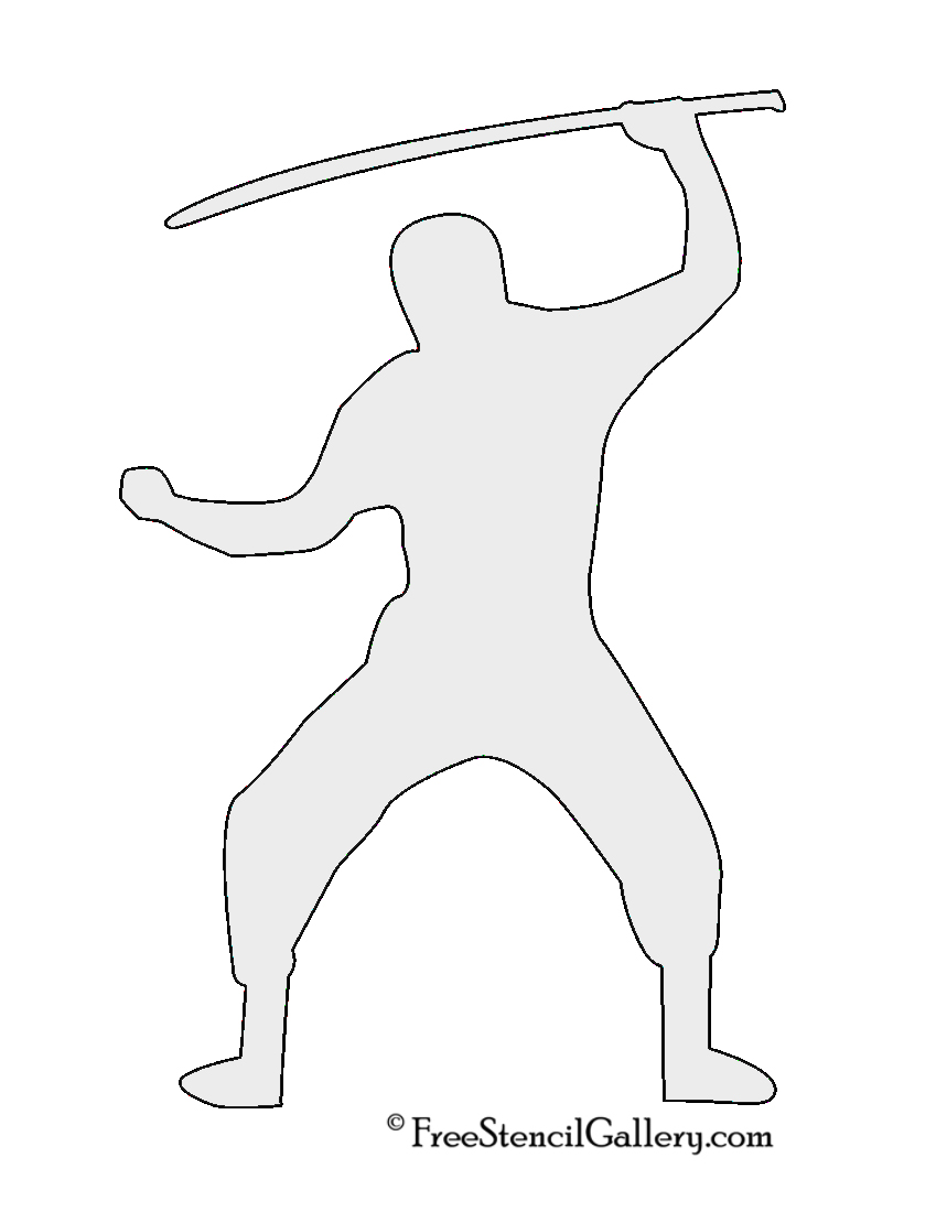 Ninja Silhouette Stencil