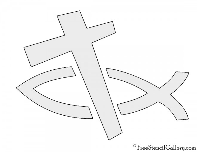 Christian Fish and Cross Stencil