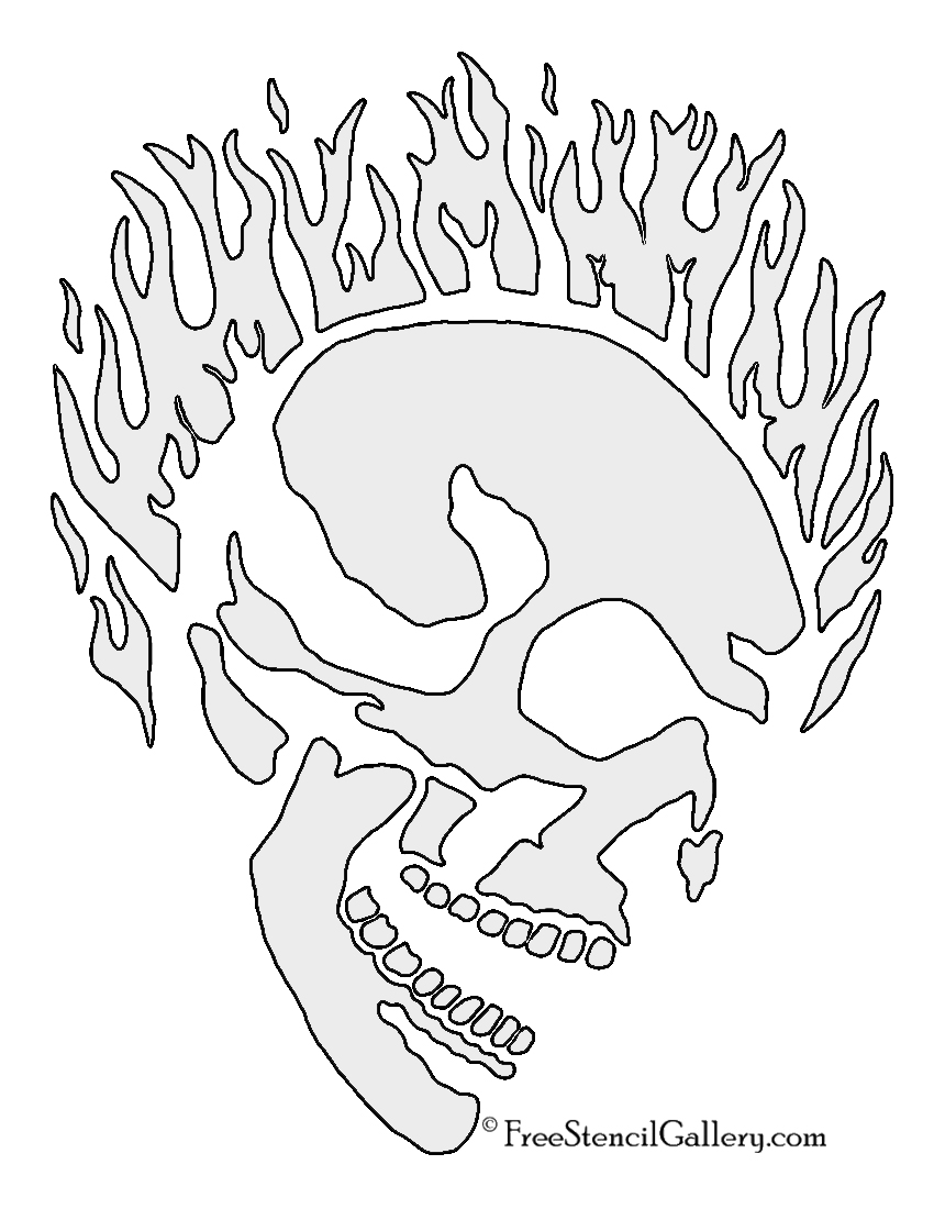 Flaming Skull Stencil | Free Stencil Gallery