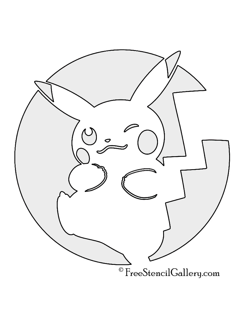 Pokemon pikachu stencil 03 free stencil gallery for Pokemon templates print