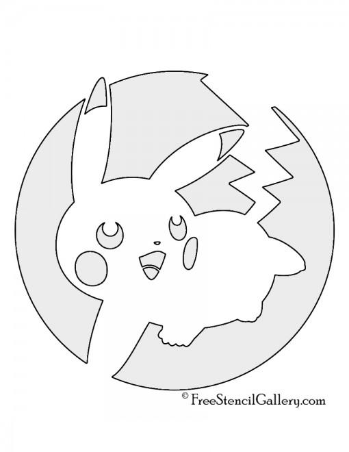 Pokemon pikachu stencil 04 free stencil gallery for Pokemon jack o lantern template