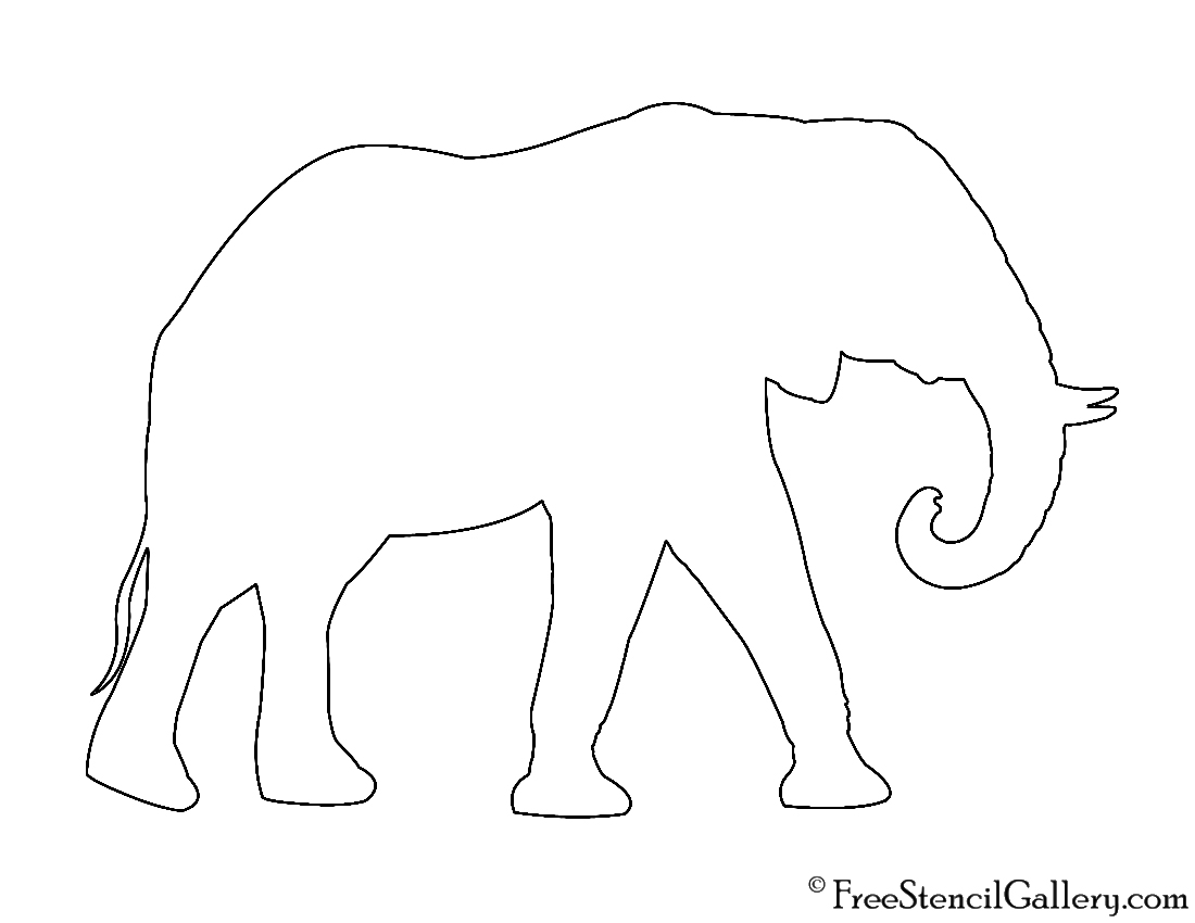 african elephant silhouette stencil