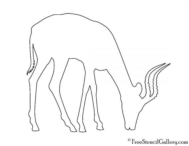 Antelope Silhouette Stencil