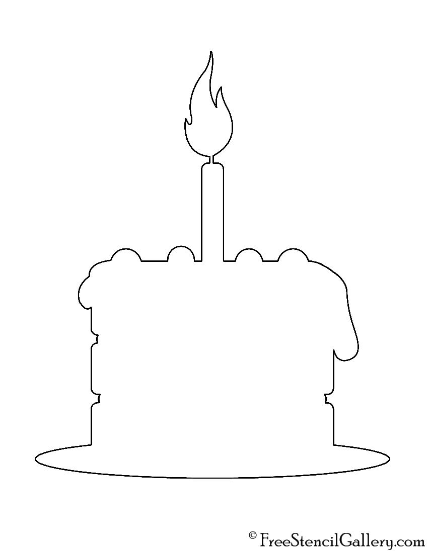 Cake Pattern Stencils : Birthday Cake Stencil Free Stencil Gallery