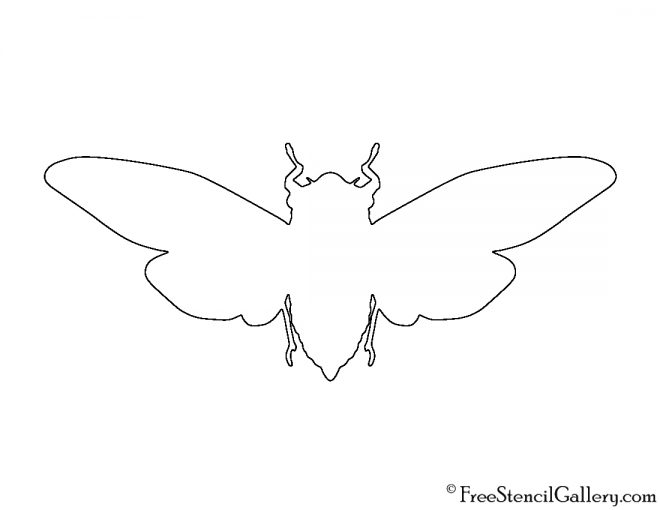 Cicada Silhouette Stencil