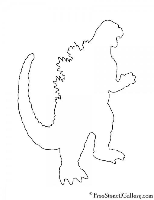 Godzilla Silhouette Stencil