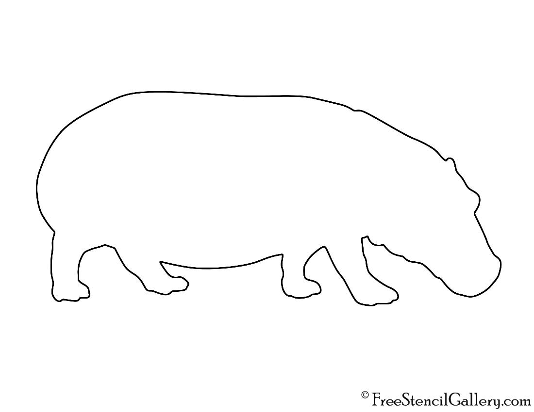 hippopotamus silhouette 02 stencil free stencil gallery