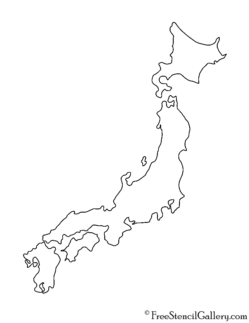 Japan Stencil Free Stencil Gallery - Japan map printable