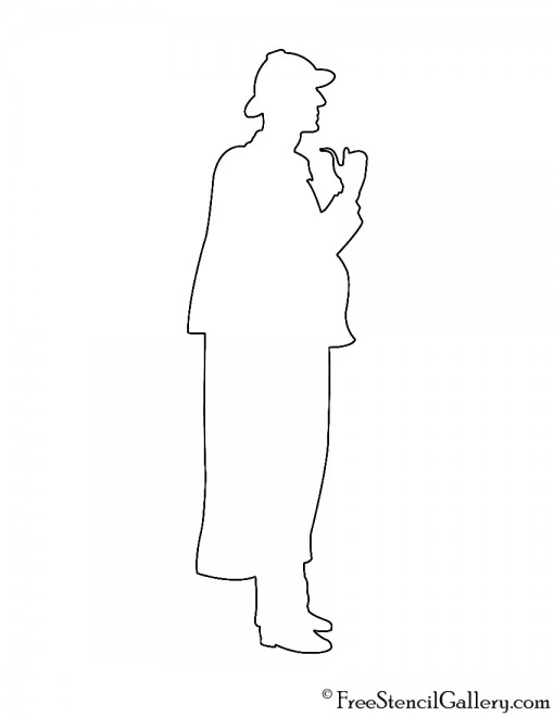 Sherlock Holmes Silhouette Stencil