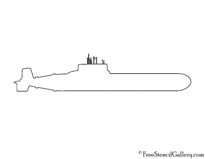 Submarine Silhouette Stencil