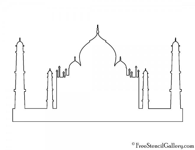 Taj Mahal Silhouette Stencil