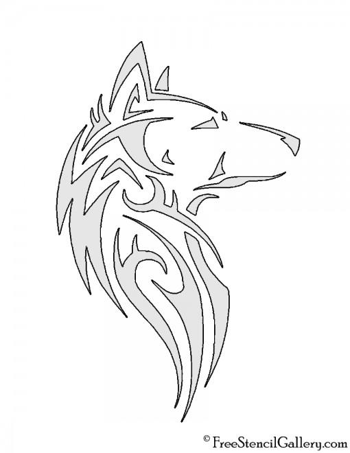 Wolf Tribal Stencil