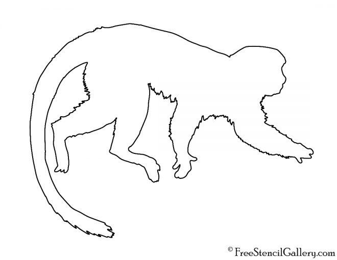 Monkey Silhouette Stencil
