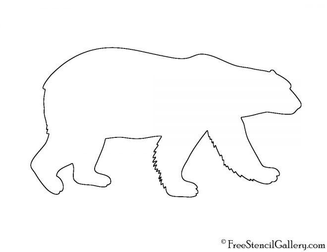 Polar Bear Silhouette Stencil