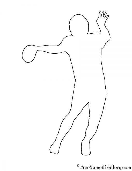 Football Quarterback Silhouette Stencil