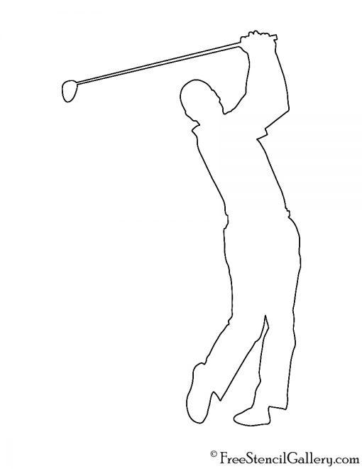 Golfer Silhouette 03 Stencil
