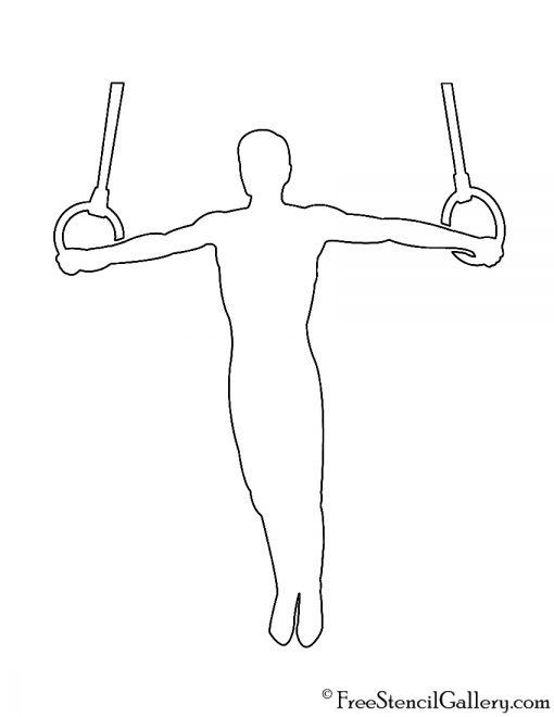 Gymnast Silhouette 04 Stencil