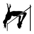 High Jumper Silhouette Stencil