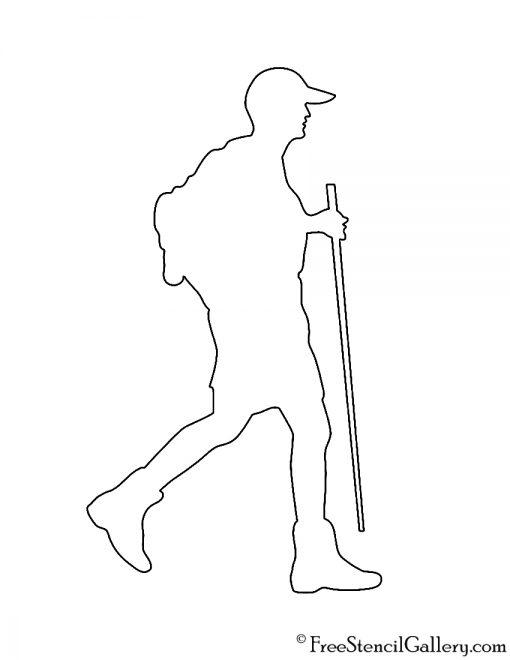 Hiker Silhouette Stencil