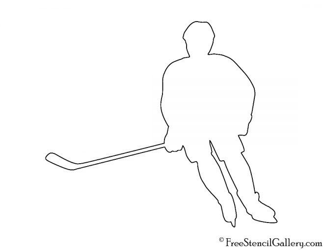 Hockey Player Silhouette 02 Stencil