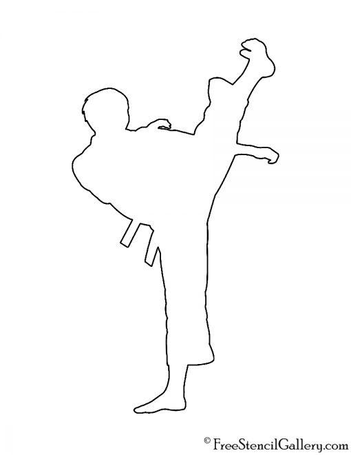 Martial Artist Silhouette 01 Stencil