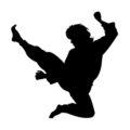Martial Artist Silhouette 02 Stencil