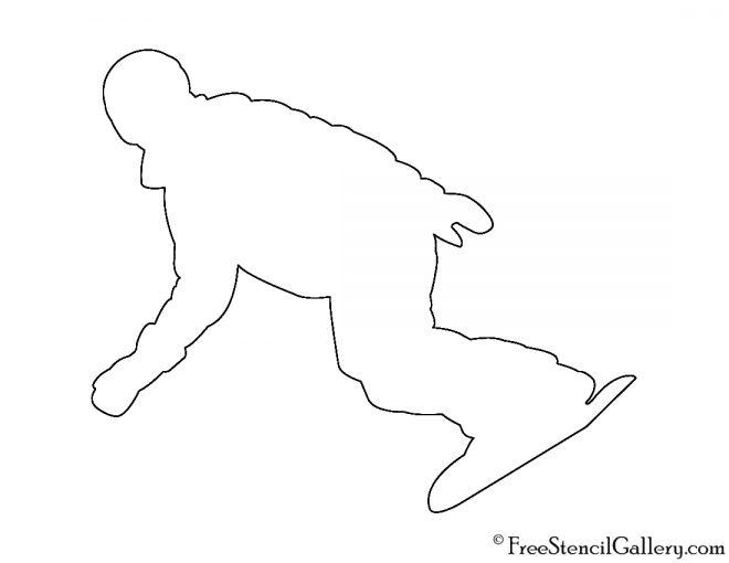 Snowboarder Silhouette 01 Stencil