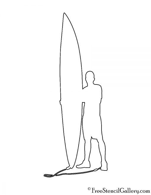 Surfer Silhouette 02 Stencil