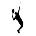 Tennis Player Silhouette 01 Stencil