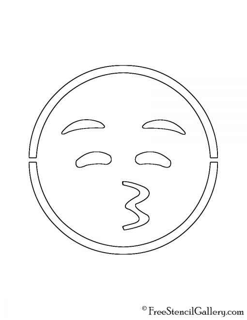Emoji - Closed Eyes Kissing Stencil