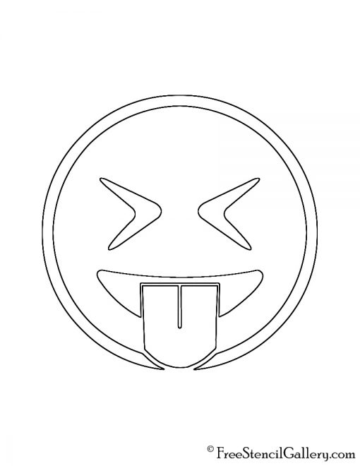 Emoji eyes closed tongue out stencil free stencil gallery for Emoji pumpkin stencil
