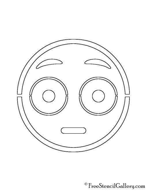 Emoji - Flushed Stencil