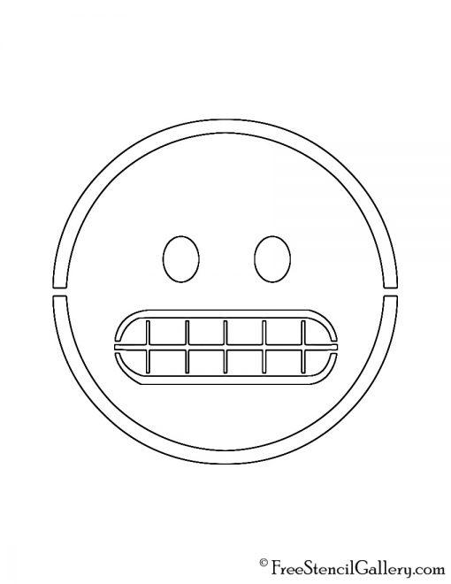 Emoji - Grimacing Stencil