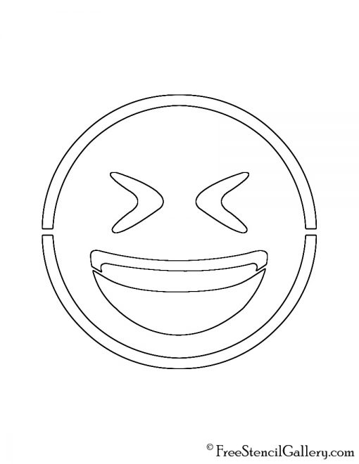 Emoji - Smiling Closed Eyes Stencil