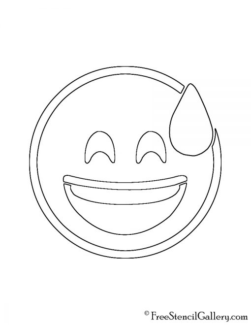 Emoji - Smiling Sweat Stencil