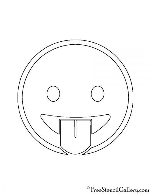 Emoji - Tongue Out Stencil