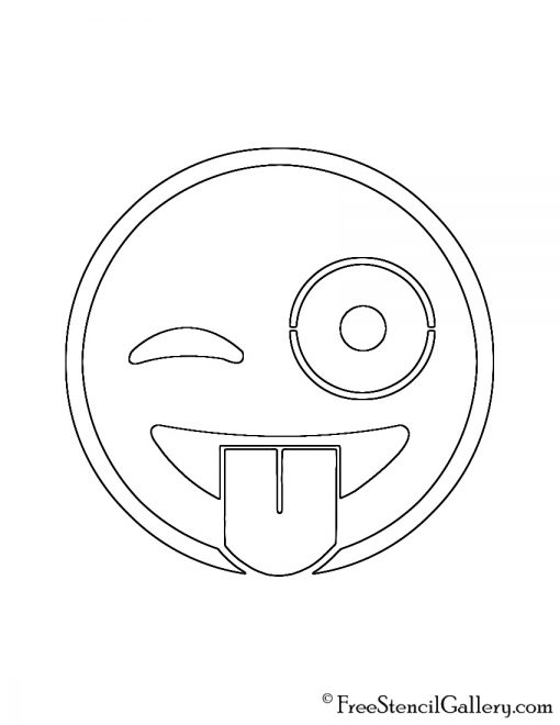 Emoji - Tongue Out Winking Stencil