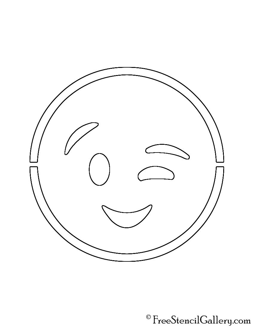 Emoji Wink Stencil Free Stencil Gallery