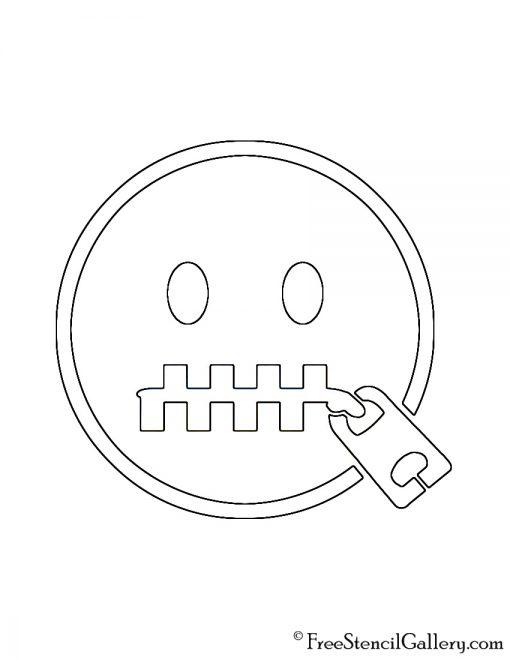 Emoji - Zipper Mouth Stencil