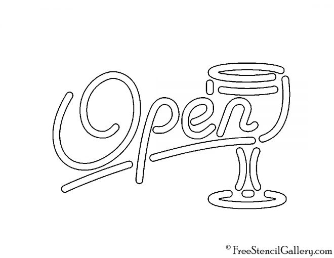 Neon Sign - Open Bar Stencil